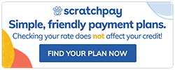 Payment plans available through Scratchpay. Click to apply now!