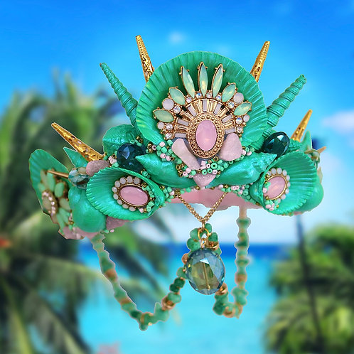 Tullula Pink & Green Sea Shell Mermaid Crystal Sea Hell Crown Hair Band