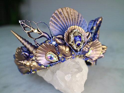 Navy Blue & Gold Sea Shell Mermaid Crown Hair Head Band