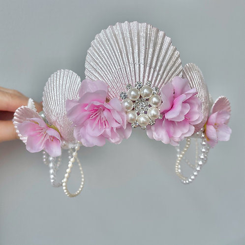 Iridescent White Pearlescent Pink Blossom Crown Mermaid Hair Band Headband