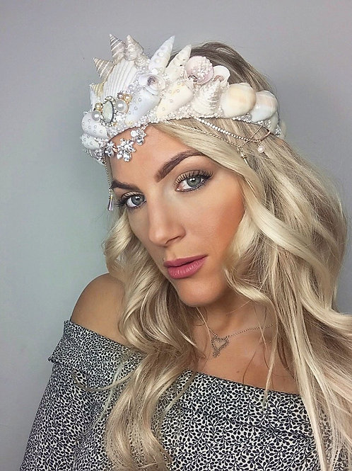Rose Gold Diamond Sea Shell Mermaid Crown Hair Head Band