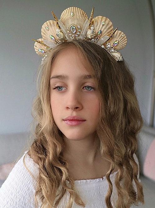 Ivory Gold Crystal Quartz Mermaid Crown Sea Shell Hair Head Alice Band