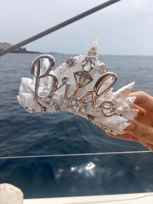 White BRIDE Sea Shell Mermaid Crown Hair Band Headband
