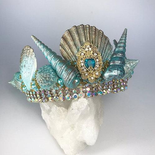 Green & Gold Sea Shell Mermaid Crown Hair Head Band