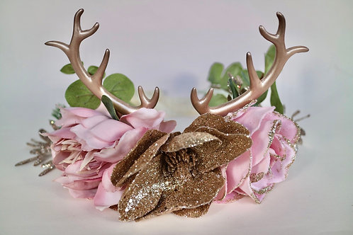 Pink Rose Gold Glitter Reindeer Flower Crown Hair Head Band
