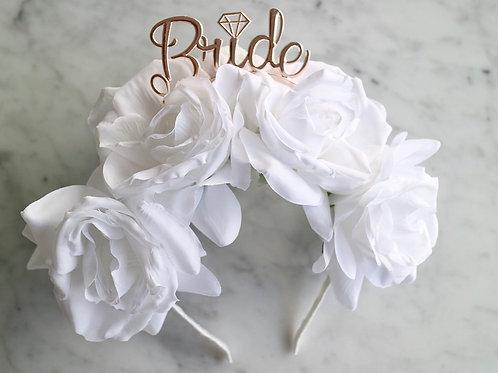 White Rose Flower Bride Flower Crown Headband