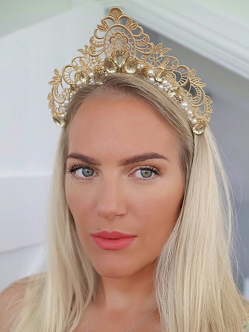 ⚜️ Augusta ⚜️ Gold Filigree Pearl Jewel Hair Band HeadBand