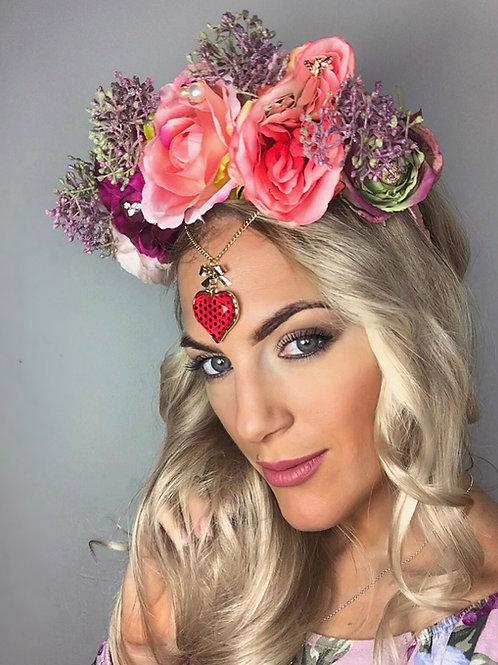 Coral Pink Rose Flower Crown Jewel Hair Head Band