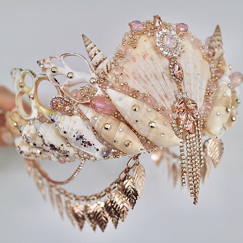 Queen Of Paradise Rose Gold Sea Shell Mermaid Crown Hair Head Band