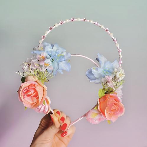 🌸🌷 Spring Flower Crown Diamond Halo Hair Band Headband Blue Pink