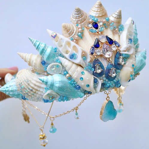 Turquoise Crystal Sea Shell Mermaid Crown Hair Head Band
