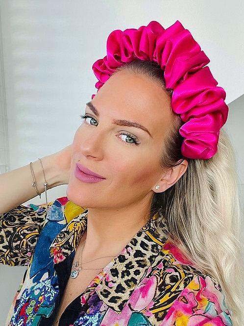 💖 Fuchsia  Pink Scrunchie Crown Rouched Hair Band Headband