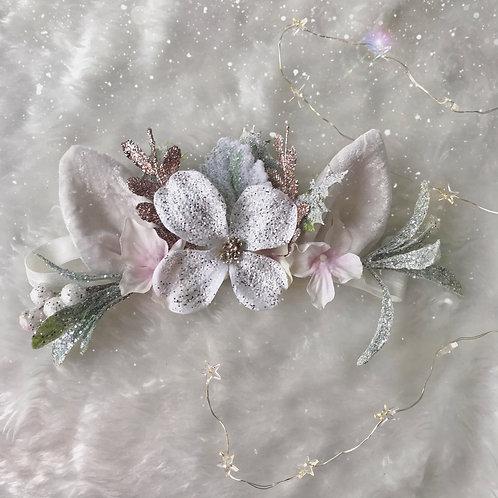 White Glitter Reindeer Velvet Ears Christmas Hair Band Headband Mist
