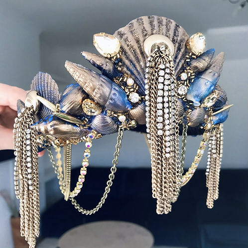 Electra Navy Blue Gold Diamond Tassel Sea Shell Mermaid Crown Hair Band