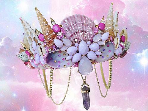 Purple Amethyst Crystal Sea Shell Mermaid Crown Hair Head Band
