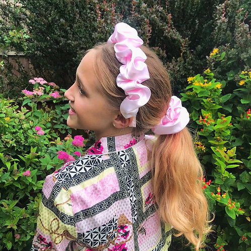 💗🎀 Scrunchie Set 🎀💗 Crown And Hair Bobble Combo Baby Pink Silk Fabric Ruched
