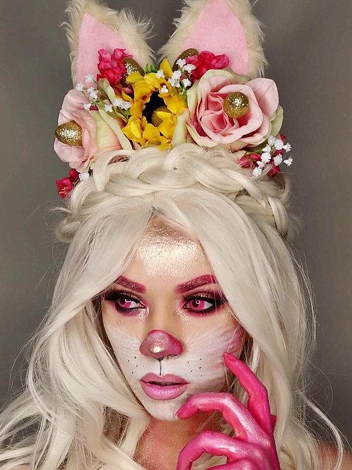 Fluffy Easter Bunny Ears Sunflower Pink Blossom Flower Hair Head Band