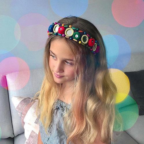Boho Vibes Bohemian PomPom Gold Mirrored Hair Band Headband