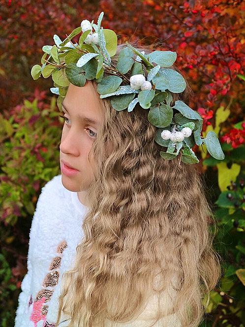 Green Eucalyptus Leaf White Mistletoe Flower Crown Hair Head Band Christmas Xmas