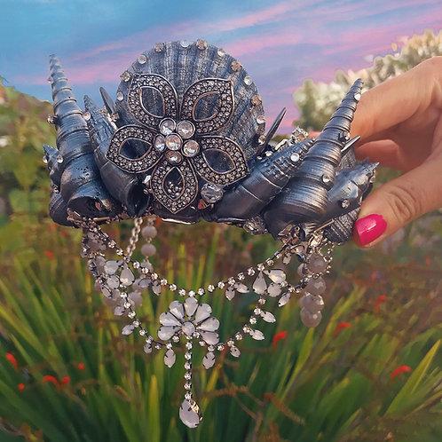 ⛓🖤 Dark and Stormy 🖤⛓ Pewter Silver Mermaid Crown Hair Band Headband