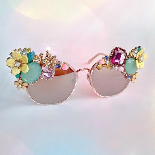 🌼💗 Primrose Spring Summer Flower Jewel Crystal Diamond Rose Gold Sunglasses
