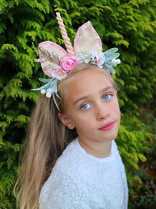 Peach Pink Unicorn Pearl Headband Flower Crown Hair Band Christmas Xmas