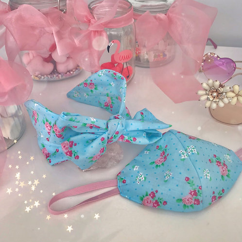 🌸💘 Matching Blue & Pink Floral Headband Cotton Face Mask Covering