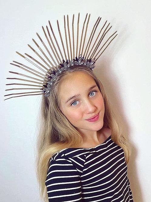 👑 Sunburst Gold Spike Halo Diamond Jewel Hair Band Headband Crown Piece Tiara