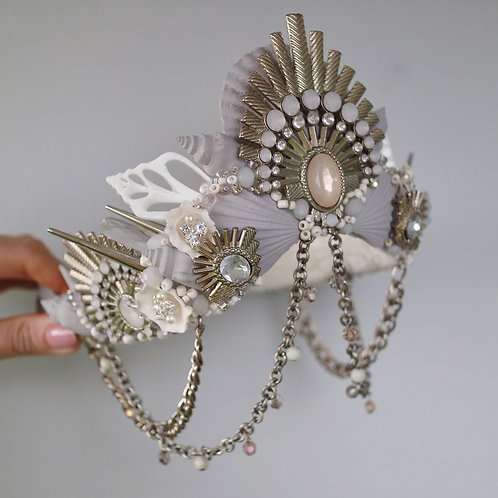 Marilla Grey & White Sea Shell Mermaid Crown Hair Head Band