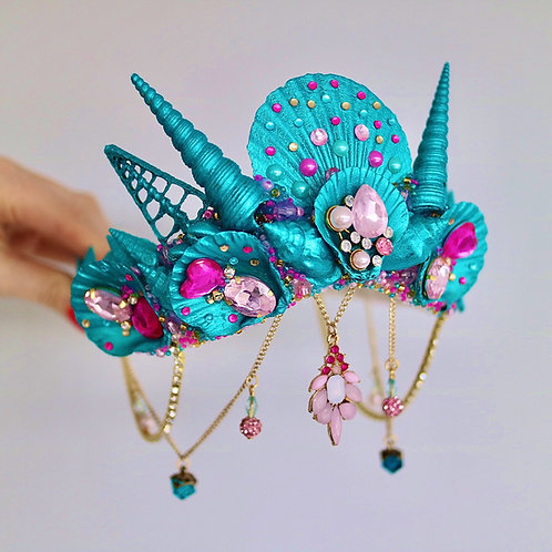 Turquoise & Pink Sea Shell Mermaid Crown Hair Band Headband