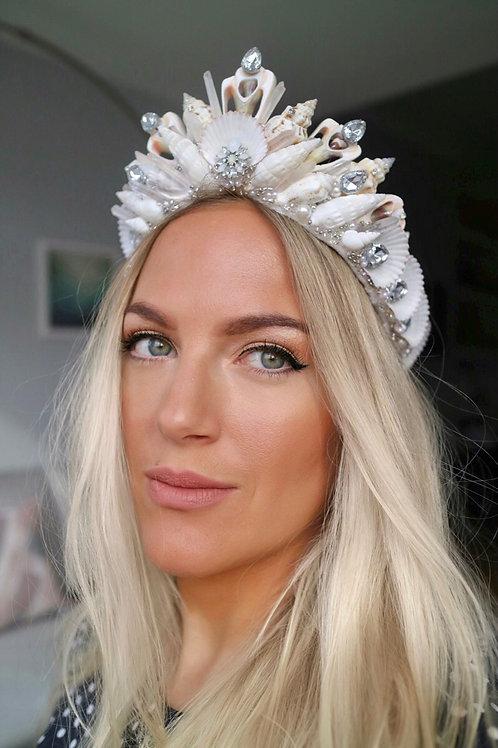 Blanche Ivory Pearl Silver Diamond Quartz Sea Shell Mermaid Crown Hair Band