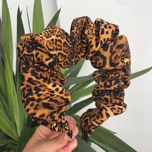 🐆 Leopard Print Scrunchie Ruffled Ruched Hair Band Headband