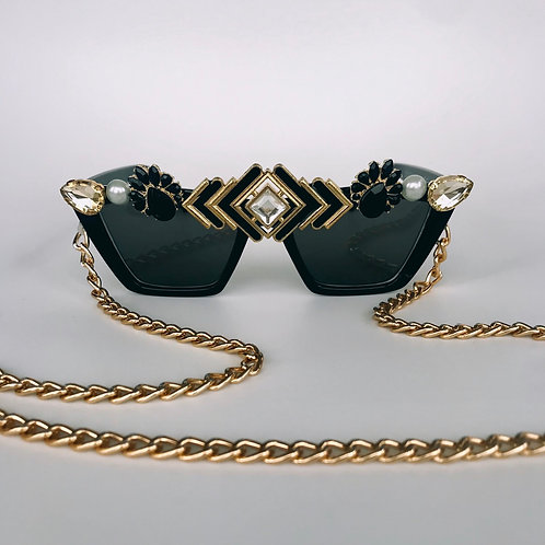 🖤 More Tequila 🖤Black & Gold Diamond Jewelled Sunglasses With Gold Chain