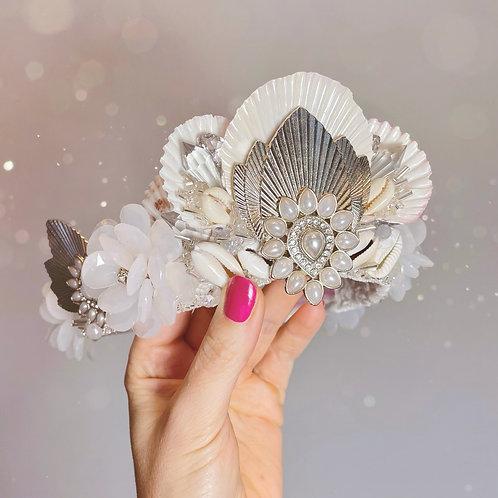 Boudica White & Silver Palm Fan Leaf Sea Shell Mermaid Crown Hair Band Headband