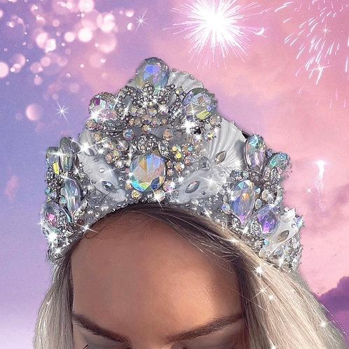 Monroe White Sea Shell Mermaid Crown Rainbow Crystal Hair Head Band