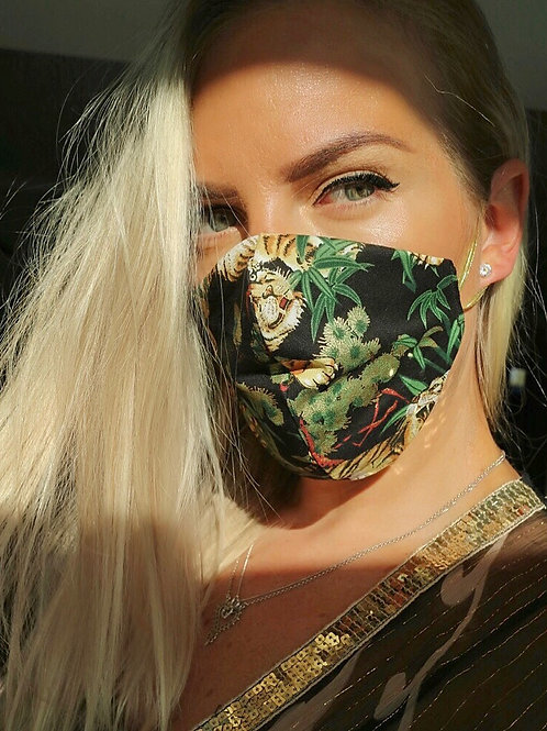 Black Gold Tiger Queen Face Mask Washable Reusable Protective Cotton UK