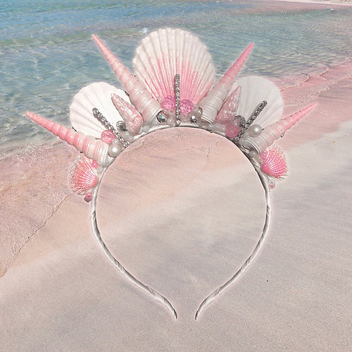 Lulwah White Pink Sea Shell Mermaid Crown Hair Band Headband