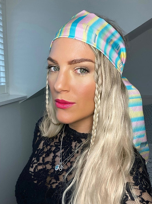 🍭 Pastel Candy Stripe Pure Silk Bandana Head Scarf Hair Band Headband