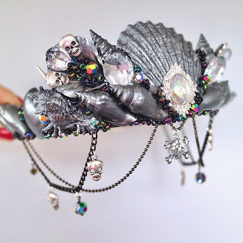 Gun Metal Black Skull Sea Shell Mermaid Crown Hair Band