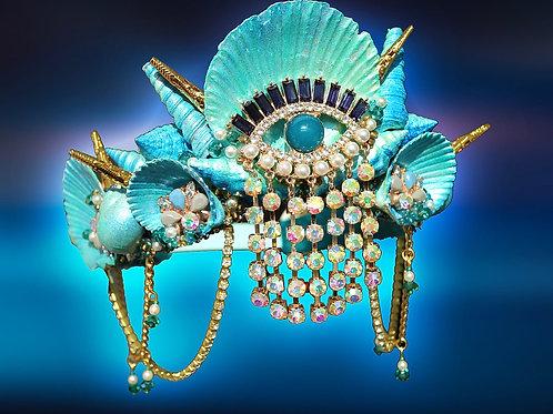 Eye Jewel Turquoise Blue Green Sea She Mermaid Crown Hair Head Band