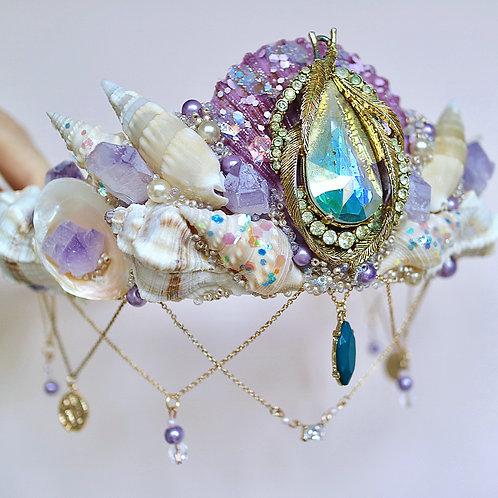 Purple & Gold Vintage Jewel Sea Shell Mermaid Crown