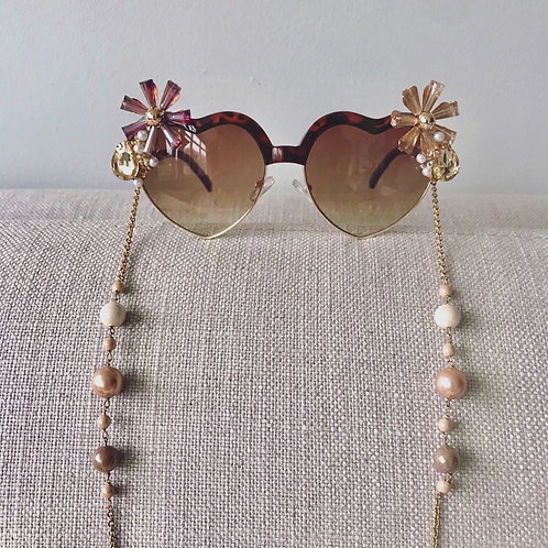 Reposado Brown Love Heart Flower Jewelled Sunglasses With Pearl Chain