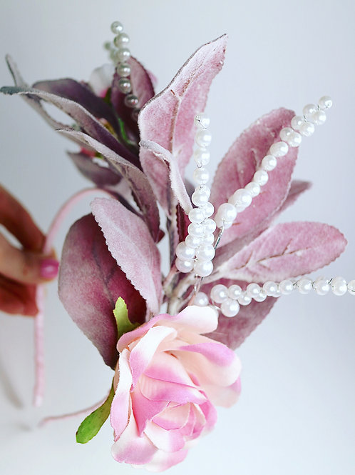 Pink Leaf Pearl Rose Flower Fascinator Head Band