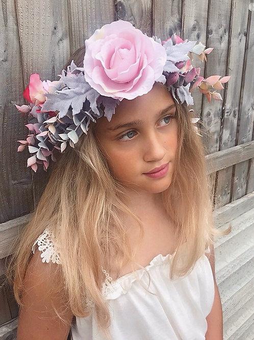 🌸 Viola 🌸 Pink Sweet Pea Dusky Eucalyptus Rose Flower Crown Hair Band Headband