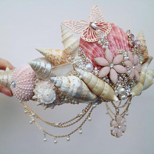 Peach Coral Pink Butterfly Sea Shell Mernaid Crown Hair Head Band