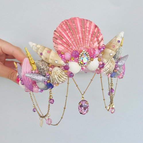 Bijoux Crystal Pink & Purple Sea Shell Mermaid Crown Hair Head Band