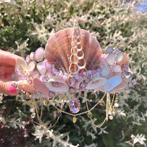 Odele Pink Crystal Pearl Natural Sea Shell Mermaid Crown
