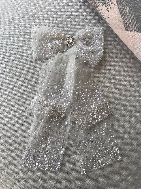 Ivory Sequin Beaded Tulle Vintage Diamond Oversized Hair Bow Clip