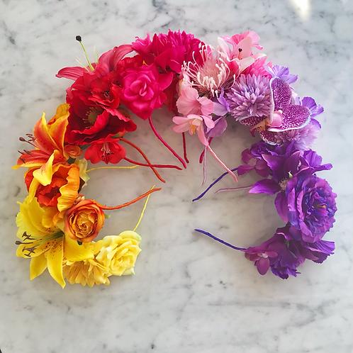 🌈💐 Rainbow Colours 🌈💐 Tropical Flower Crown Hair Band Headband