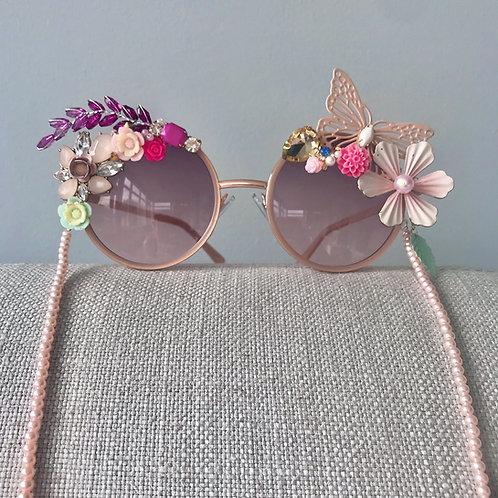 Tequini Flower Diamond Jewelled Sunglasses Pearl Chain Jewel